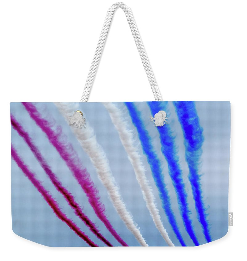 Weekender Tote Bag featuring the photograph The Red Arrows. by Angela Aird