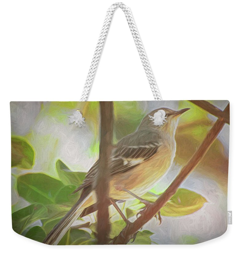 Birds Weekender Tote Bag featuring the digital art The Silent Mockingbird by Michael Campbell