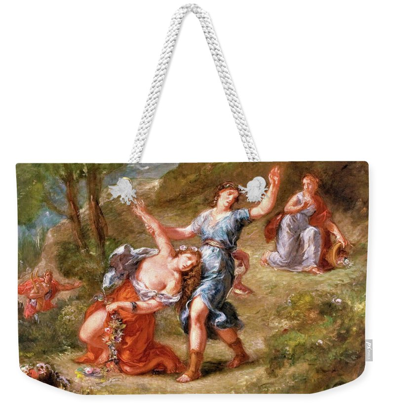 The Spring Weekender Tote Bag featuring the painting The Spring - Eurydice Bitten By A Serpent While Picking Flowers, Eurydice's Death by Eugene Delacroix