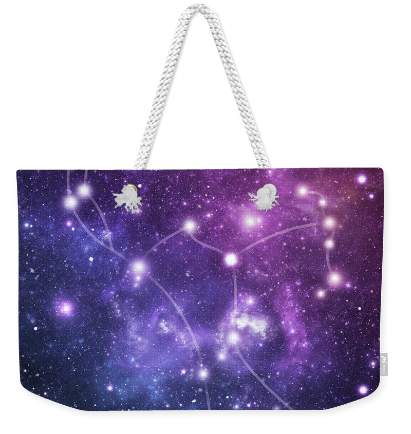 Black Color Weekender Tote Bag featuring the photograph The Stars Constellation Of Orion by Sololos