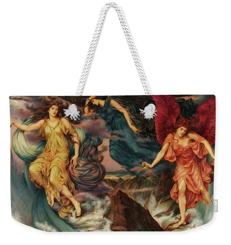 Evelyn De Morgan Weekender Tote Bag featuring the painting The Storm Spirits, 1900 by Evelyn De Morgan