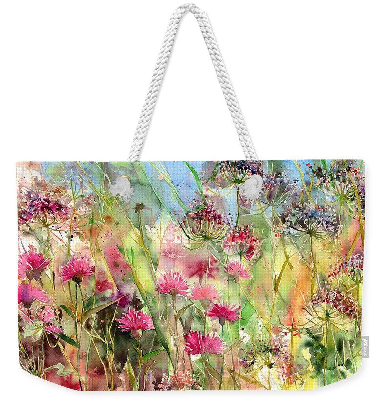 Pink Weekender Tote Bag featuring the painting Thistles Impression II by Suzann Sines