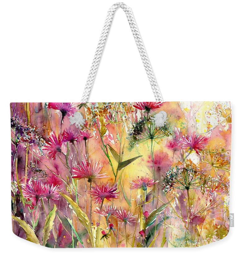 Pink Weekender Tote Bag featuring the painting Thistles Impression by Suzann Sines