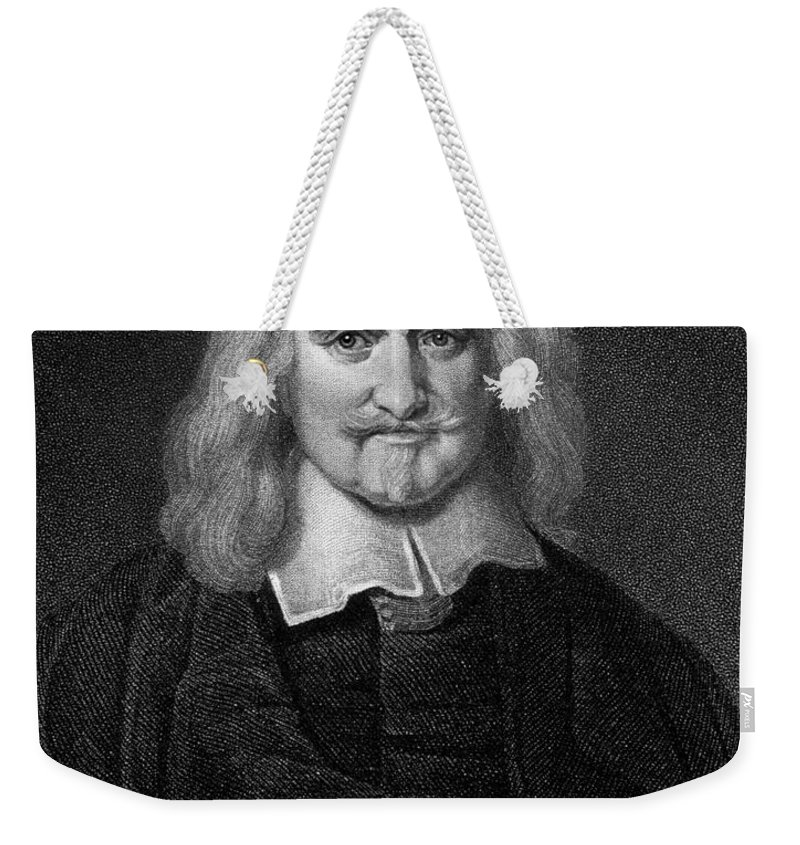 Historical Weekender Tote Bag featuring the drawing Thomas Hobbes English Philosopher, Engraving by European School