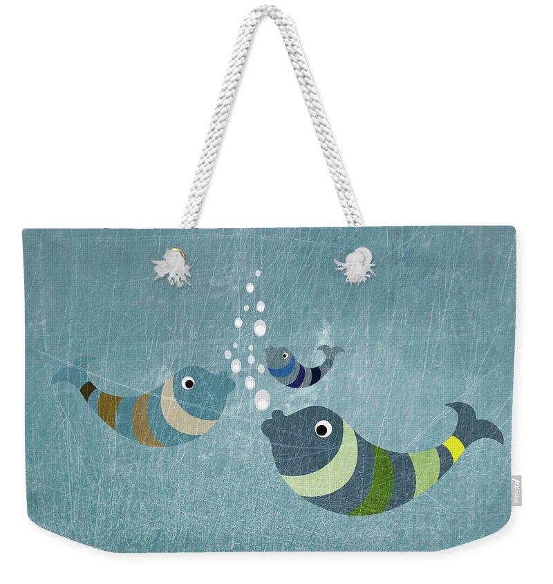 Underwater Weekender Tote Bag featuring the digital art Three Fish In Water by Fstop Images - Jutta Kuss