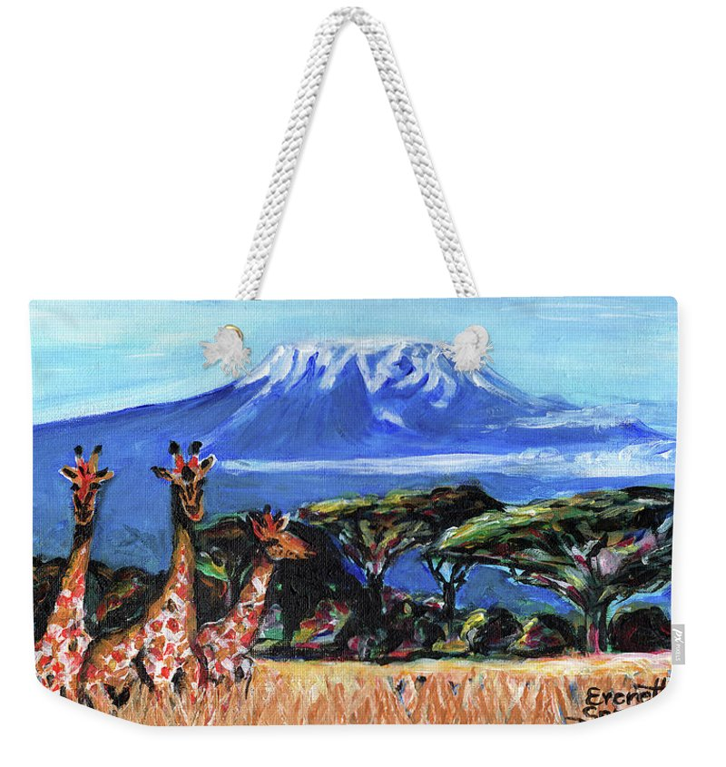 Everett Spruill Weekender Tote Bag featuring the painting Three Giraffes by Everett Spruill