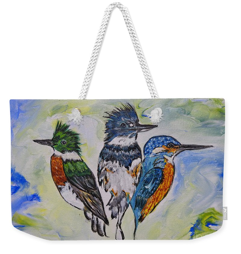 Kingfisher Weekender Tote Bag featuring the painting Three Kingfisher Birds - Painting By Ella by Ella Kaye Dickey
