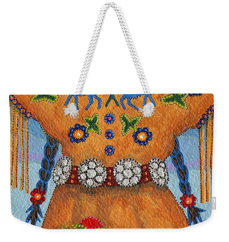 Native American Weekender Tote Bag featuring the painting Thunder Girl Fall by Chholing Taha
