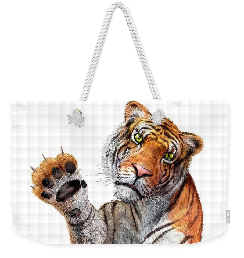 White Background Weekender Tote Bag featuring the digital art Tiger, Artwork by Leonello Calvetti