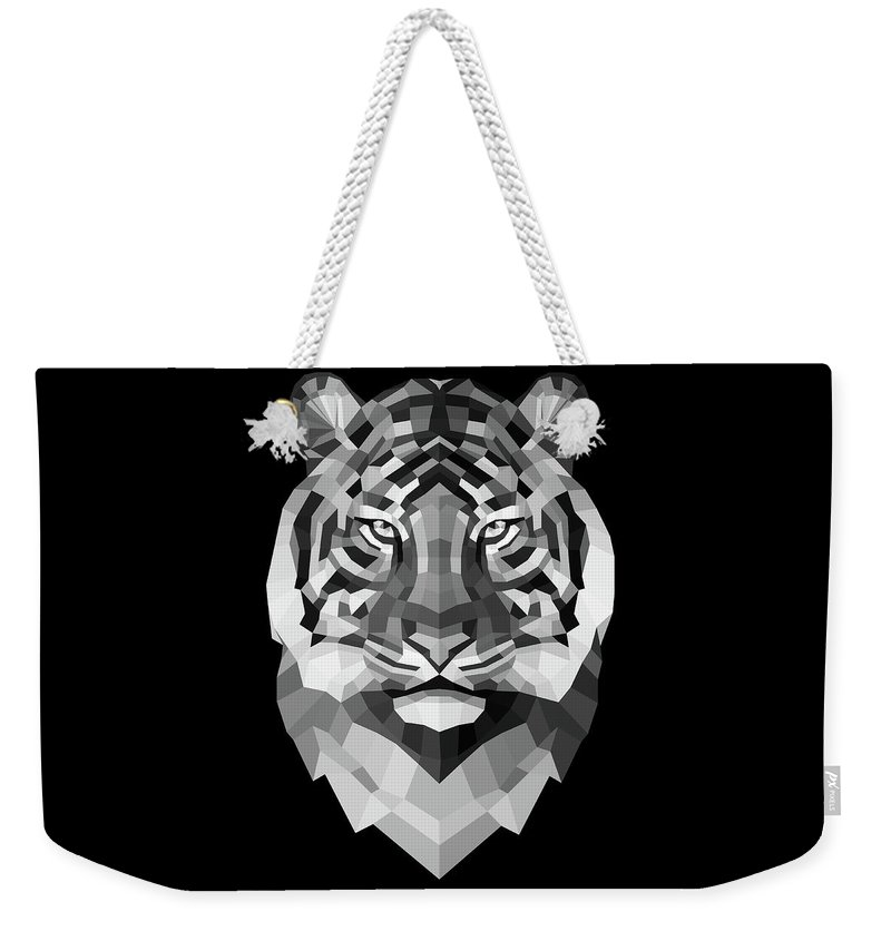 Tiger Weekender Tote Bag featuring the digital art Tiger's Face by Naxart Studio