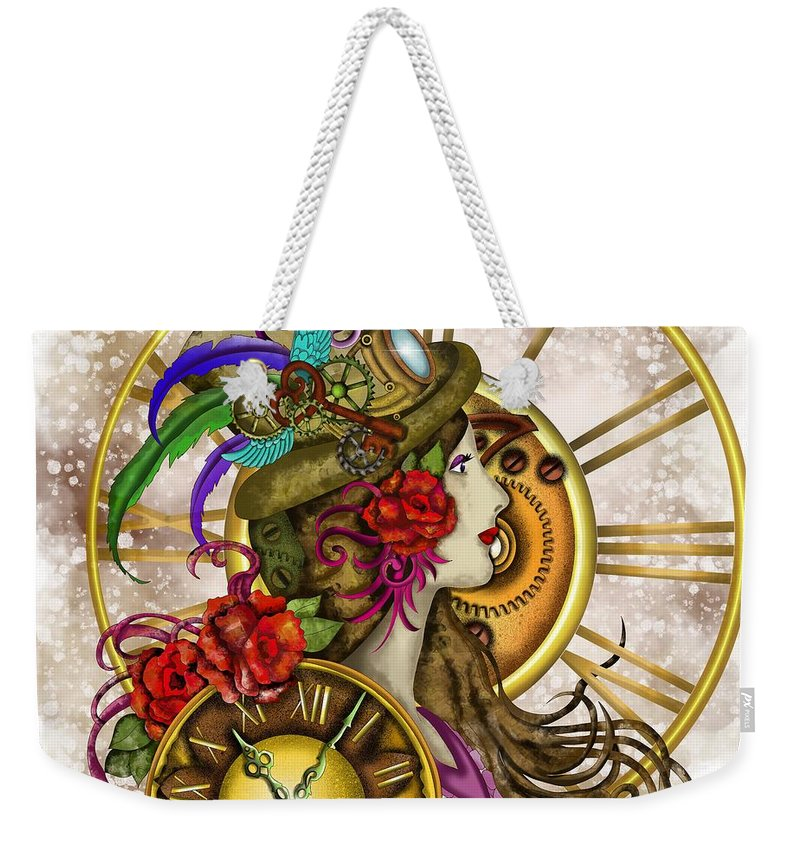 Steampunk Weekender Tote Bag featuring the painting Time Lady Steampunk by Patricia Piotrak