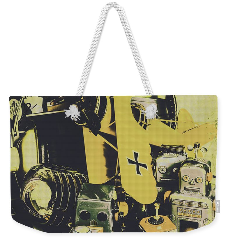 Tin Sign Weekender Tote Bag featuring the photograph Tin Sign Toys by Jorgo Photography - Wall Art Gallery