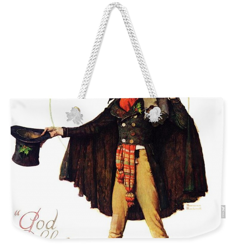 Christmas Carol Weekender Tote Bag featuring the drawing Tiny Tim by Norman Rockwell
