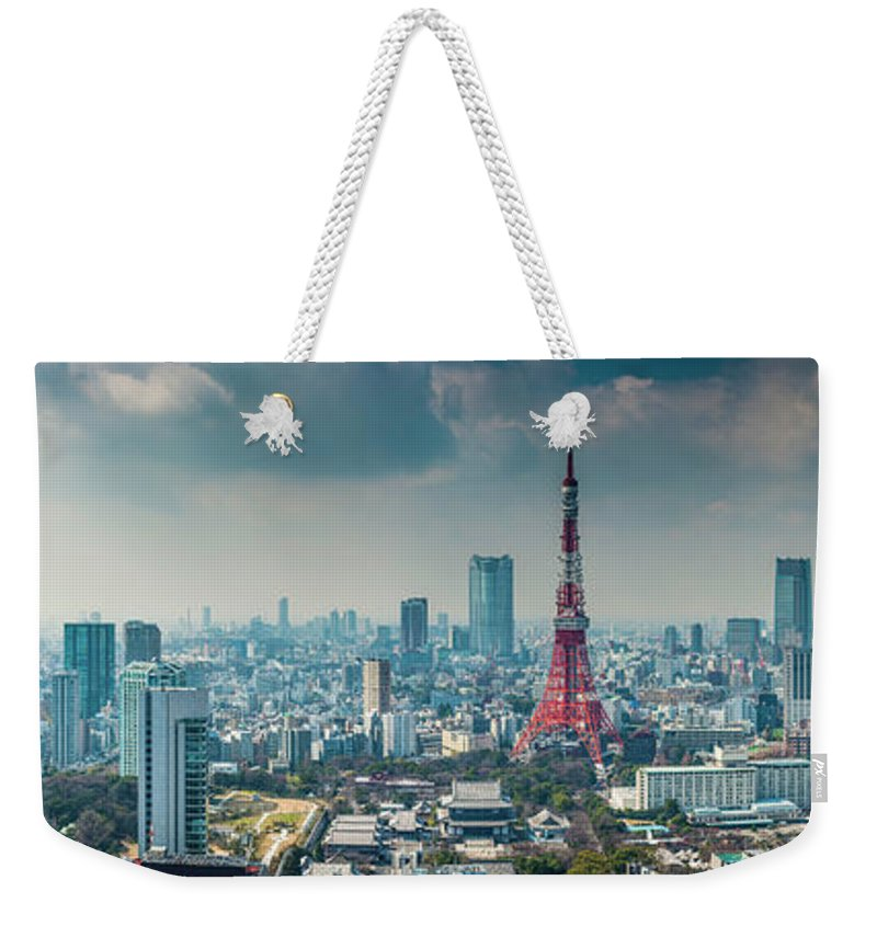 Tokyo Tower Weekender Tote Bag featuring the photograph Tokyo Tower Futuristic Skyscraper by Fotovoyager