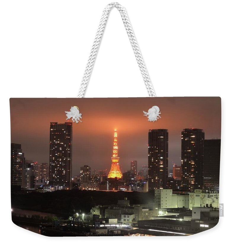 Tokyo Tower Weekender Tote Bag featuring the photograph Tokyo Tower With Cloud by Keiko Iwabuchi