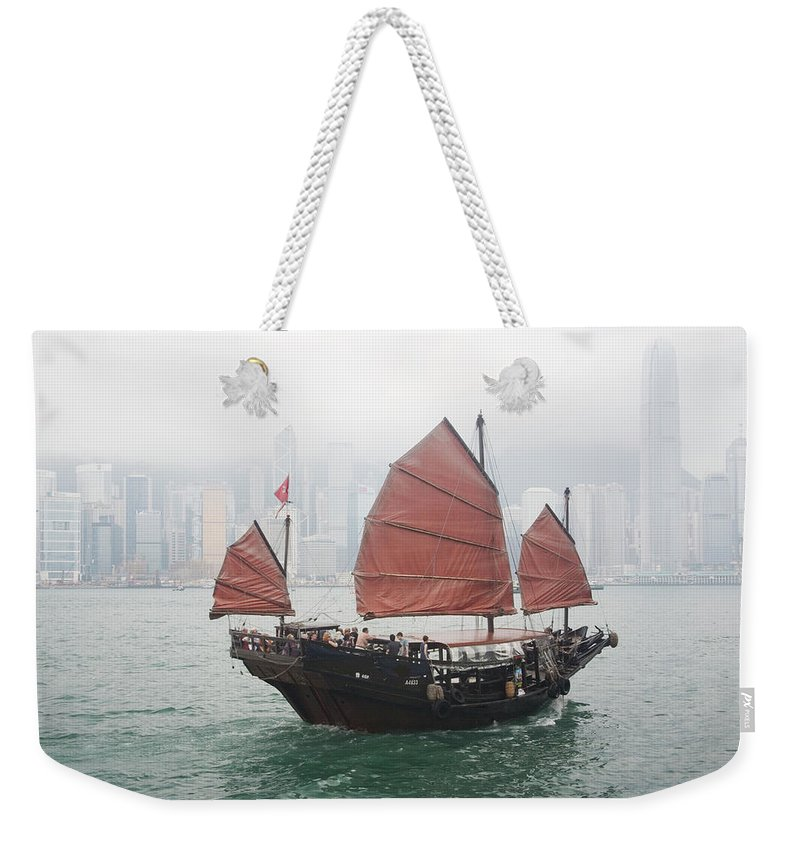 Outdoors Weekender Tote Bag featuring the photograph Tourist Junk On Cruise by Romana Chapman