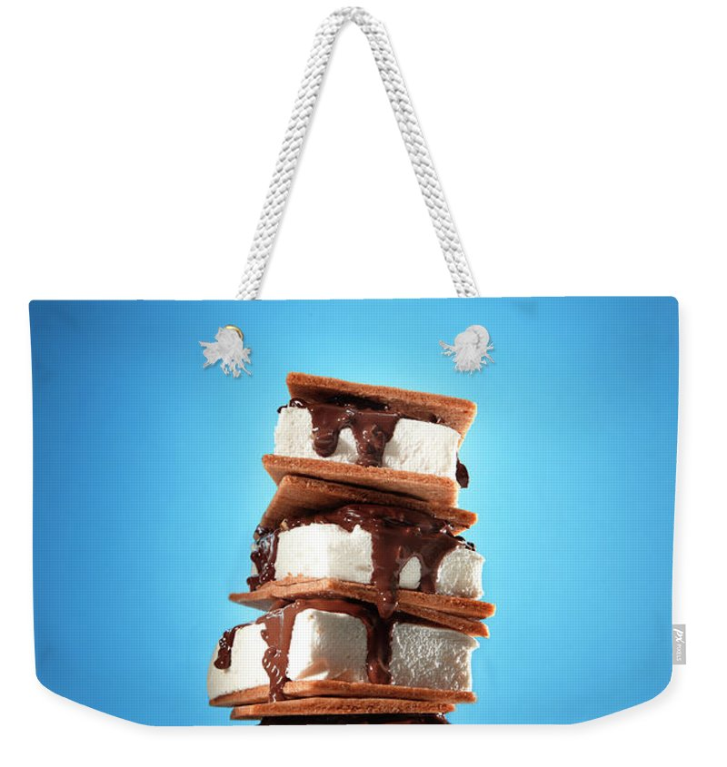 Temptation Weekender Tote Bag featuring the photograph Tower Of Smores Treats by Annabelle Breakey