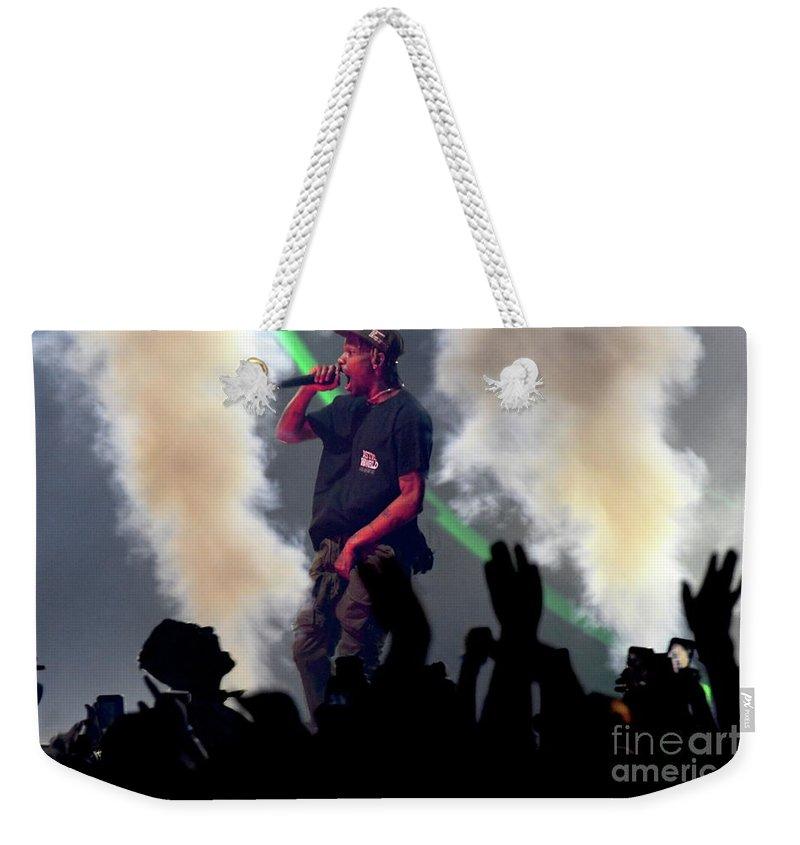 Travis Scott Weekender Tote Bag featuring the photograph Travis Scott by Concert Photos