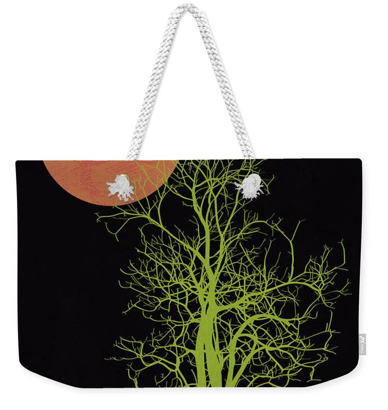 Tree Weekender Tote Bag featuring the mixed media Tree And Orange Moon by Naxart Studio