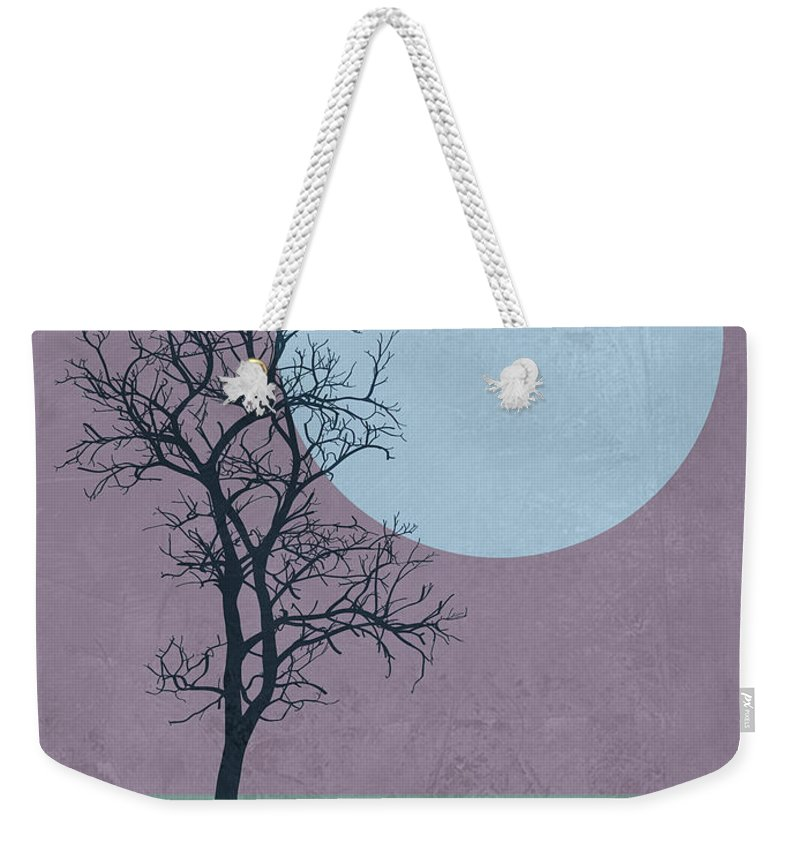 Tree Weekender Tote Bag featuring the mixed media Tree And The Moon by Naxart Studio