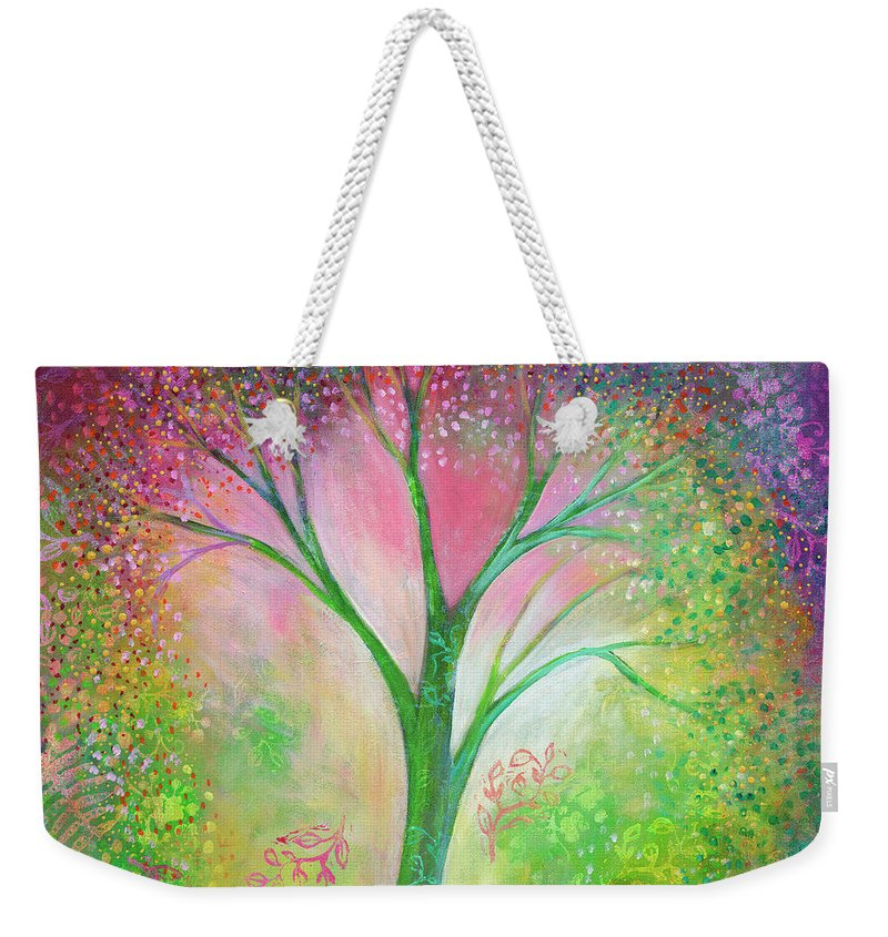 Tree Weekender Tote Bag featuring the painting Tree Of Tranquility by Jennifer Lommers