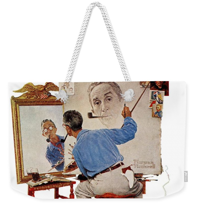 Artists Weekender Tote Bag featuring the drawing Triple Self-portrait by Norman Rockwell