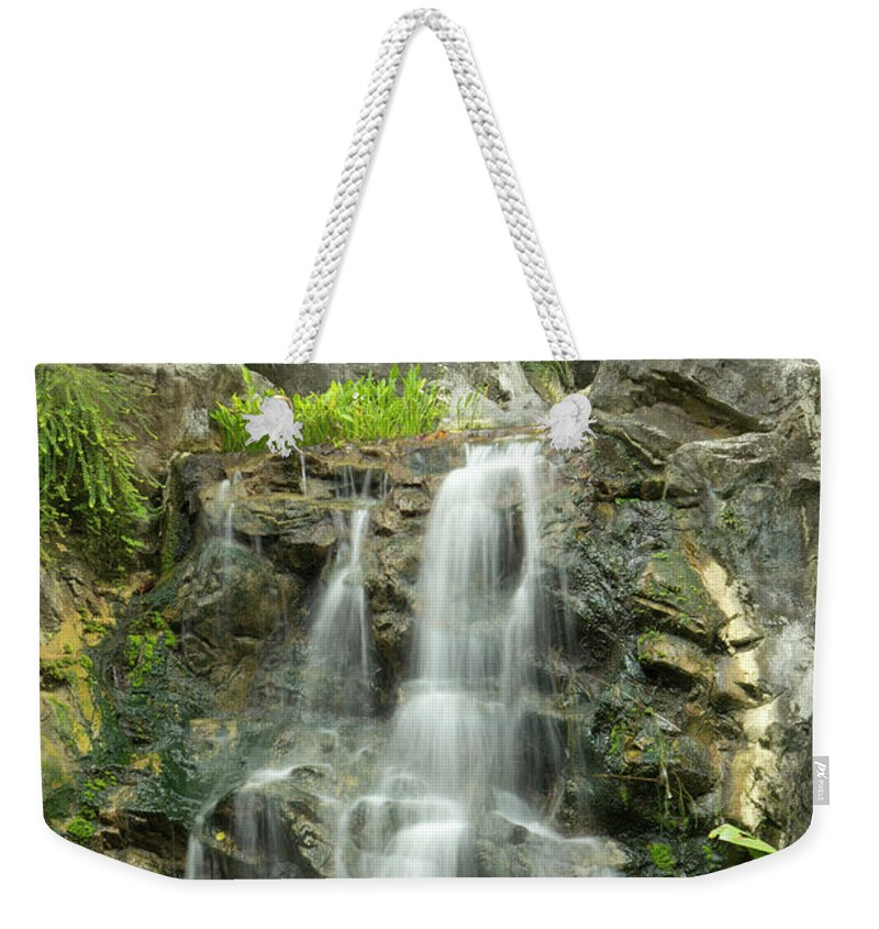 Tropical Rainforest Weekender Tote Bag featuring the photograph Tropical Rainforest And Waterfall by Travelpix Ltd