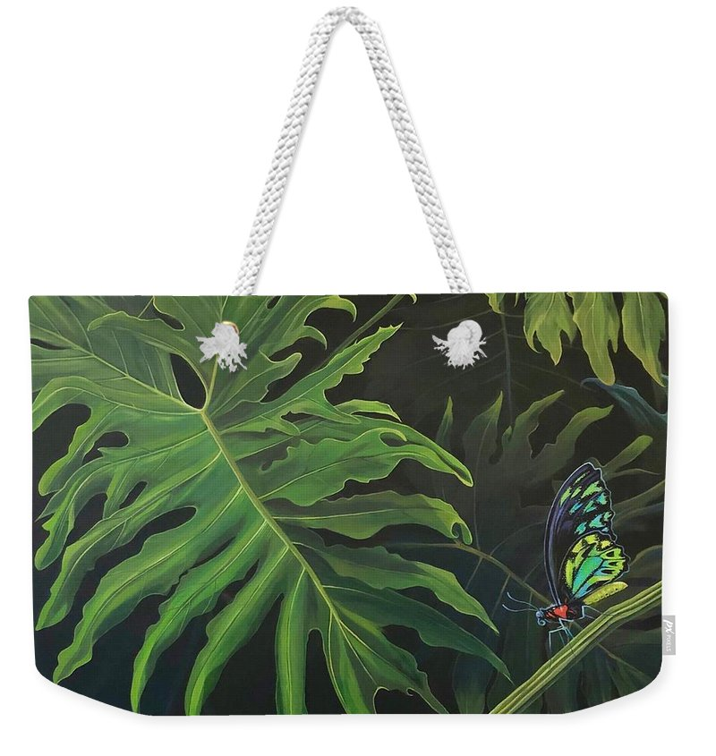 Butterfly Weekender Tote Bag featuring the painting Tropicalia by Hunter Jay