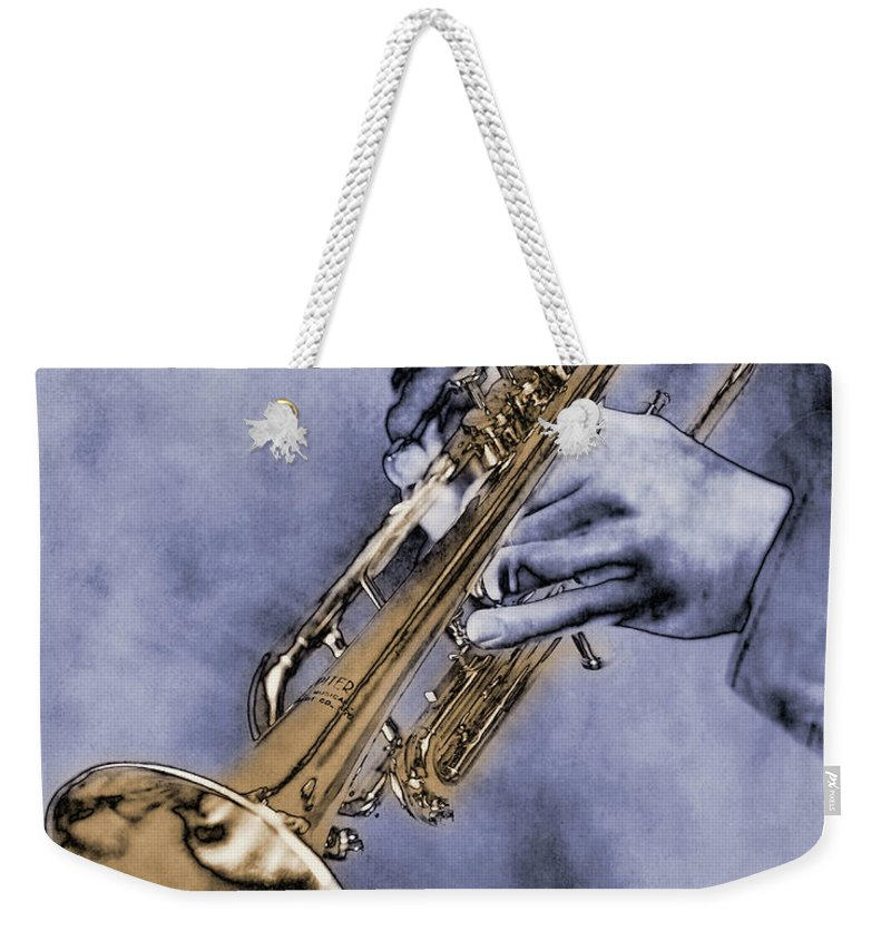 One Man Only Weekender Tote Bag featuring the digital art Trumpet Player by Nick White