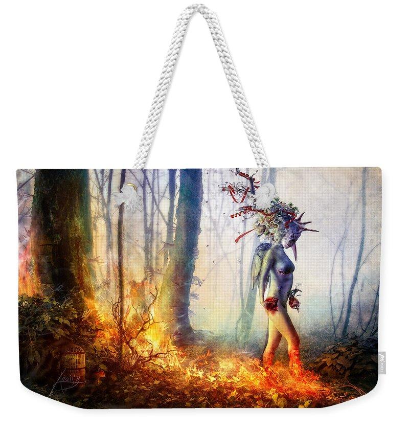 Surreal Weekender Tote Bag featuring the digital art Trust in me by Mario Sanchez Nevado