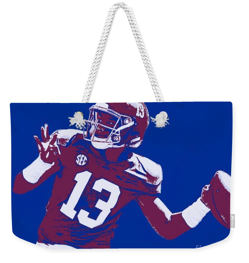 Tagovailoa Weekender Tote Bag featuring the painting Tua Tagovailoa by Jack Bunds