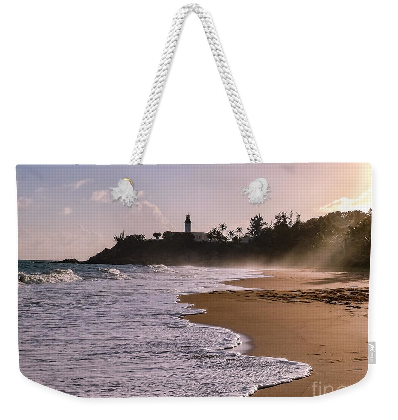 Ocean Weekender Tote Bag featuring the photograph Tuna Punta Lighthouse And Beach In Puerto Rico by G Matthew Laughton