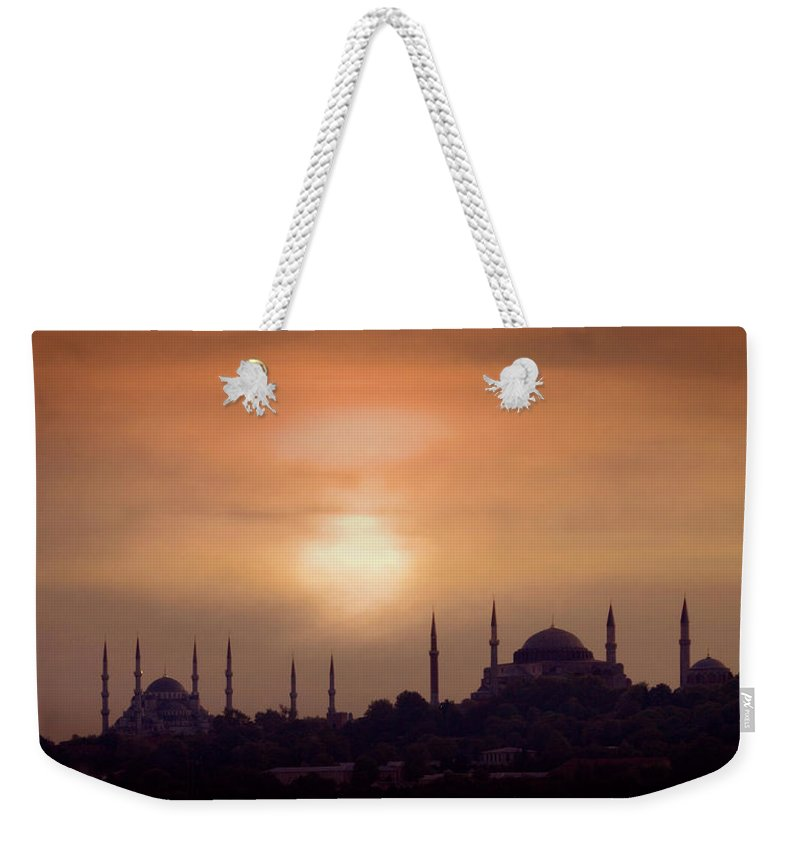 Scenics Weekender Tote Bag featuring the photograph Turkey, Istanbul, Blue Mosque And Hagia by Daryl Benson