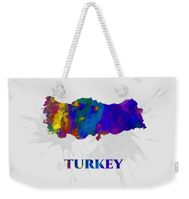 Turkey Weekender Tote Bag featuring the mixed media Turkey, Map, Artist Singh by Artist Singh MAPS