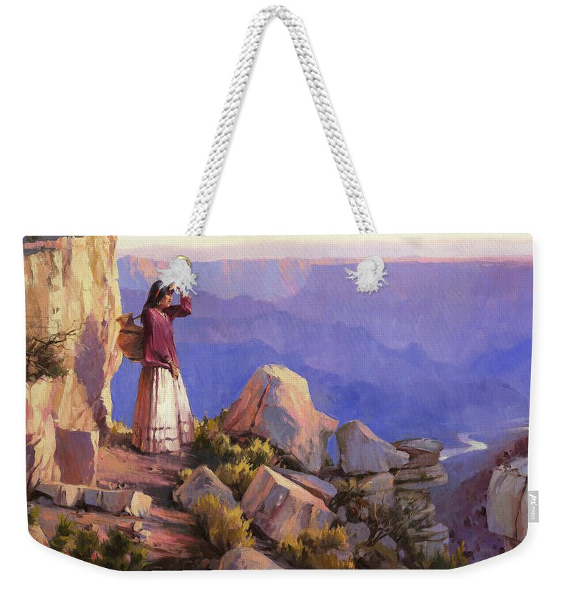 Grand Canyon Weekender Tote Bag featuring the painting Turning Point by Steve Henderson