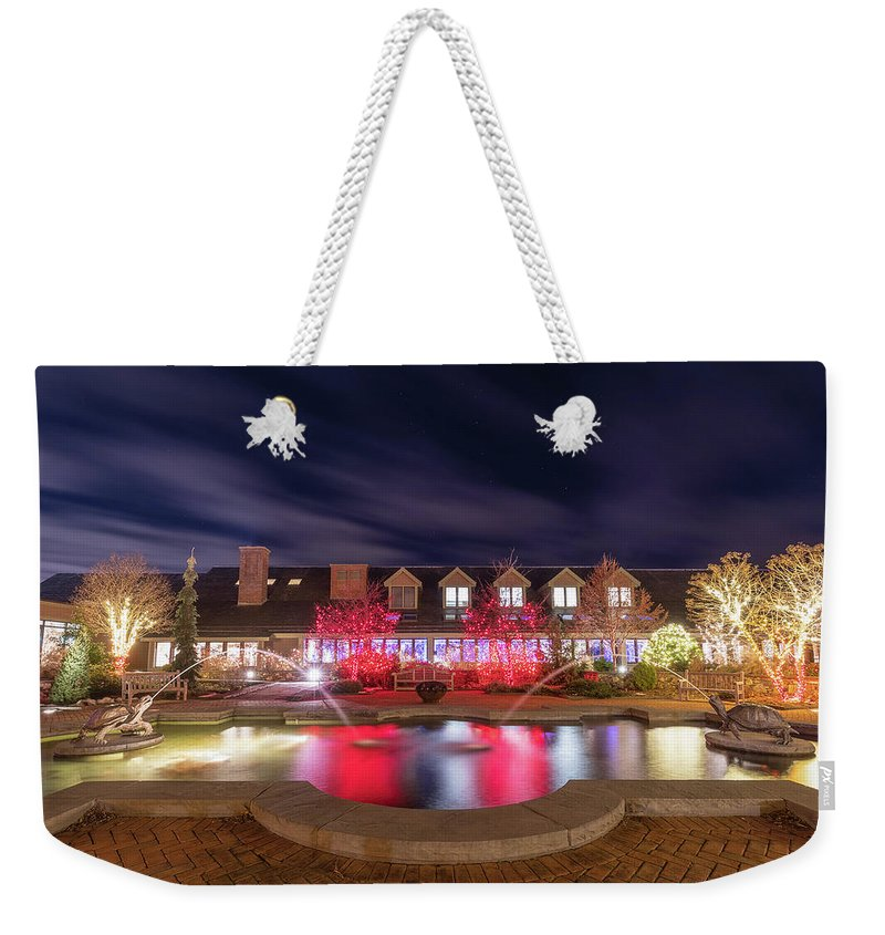 Turtle Fountain Reflection Christmas Holiday Lights Night Sky Outside Outdoors Ma Mass Massachusetts Brian Hale Brianhalephoto Stars Clouds Weekender Tote Bag featuring the photograph Twin Turtles Twinkling by Brian Hale