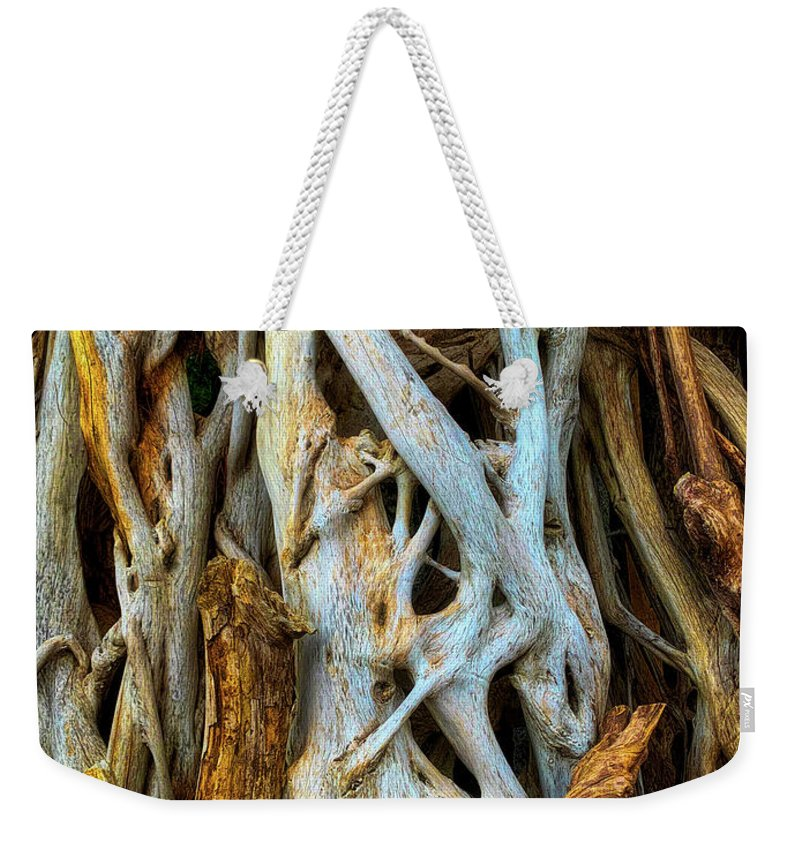 Twisted Weekender Tote Bag featuring the photograph Twisted Tree Limbs by Garry Gay