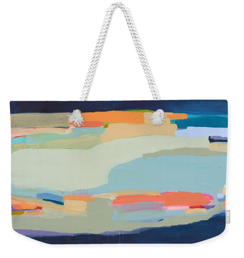 Abstract Weekender Tote Bag featuring the painting Two Beige Dogs by Claire Desjardins