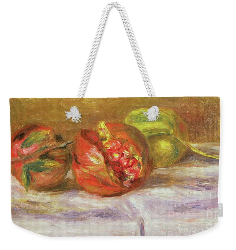 Pomegranates Weekender Tote Bag featuring the painting Two Pomegranates by Pierre Auguste Renoir