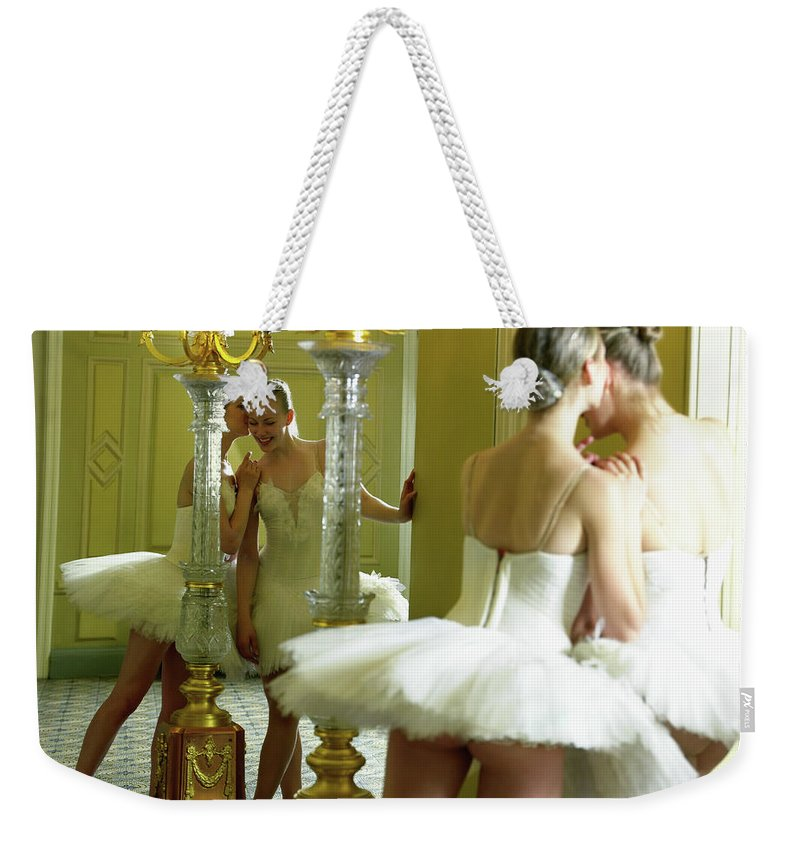 Ballet Dancer Weekender Tote Bag featuring the photograph Two Teenage Ballet Dancers 13-15 In by Hans Neleman