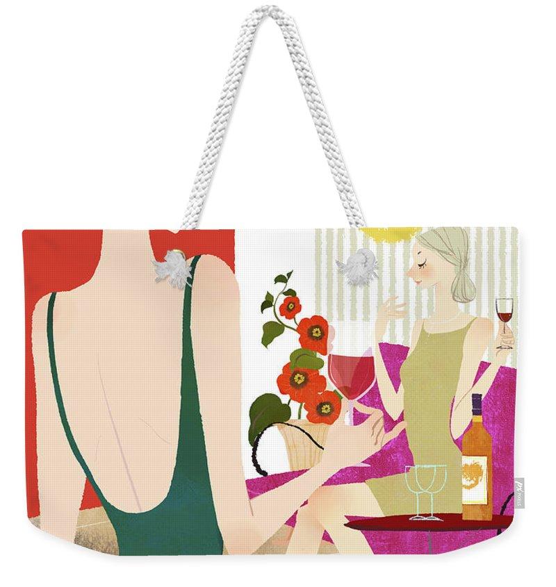 People Weekender Tote Bag featuring the digital art Two Woman Drinking Wine by Eastnine Inc.