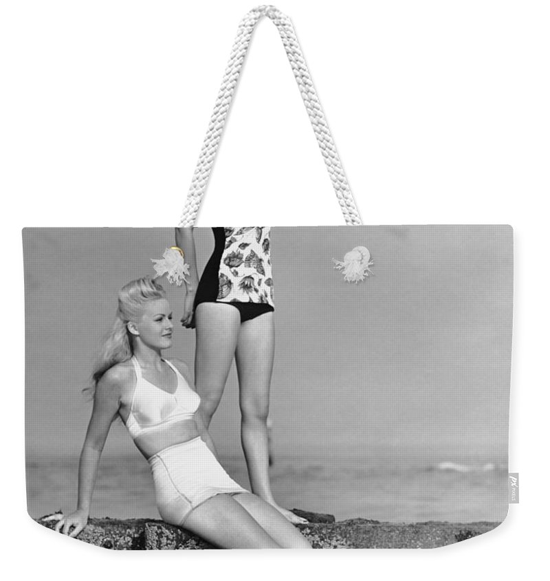People Weekender Tote Bag featuring the photograph Two Women In Bathing Suits by George Marks