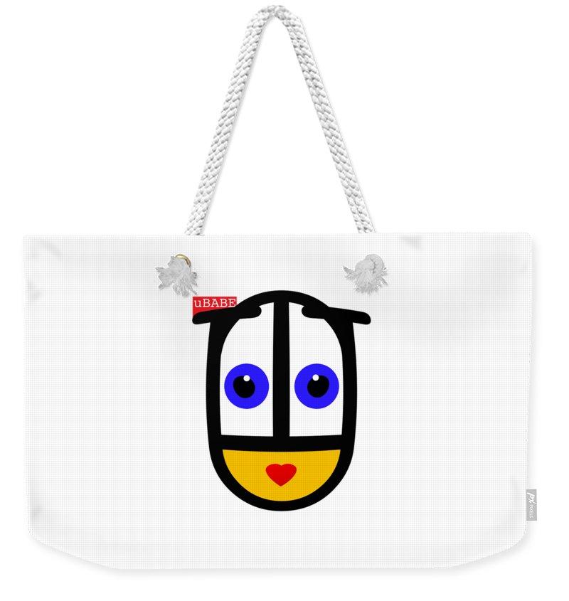 Ubabe Face Weekender Tote Bag featuring the digital art uBABE Logo by Ubabe Style