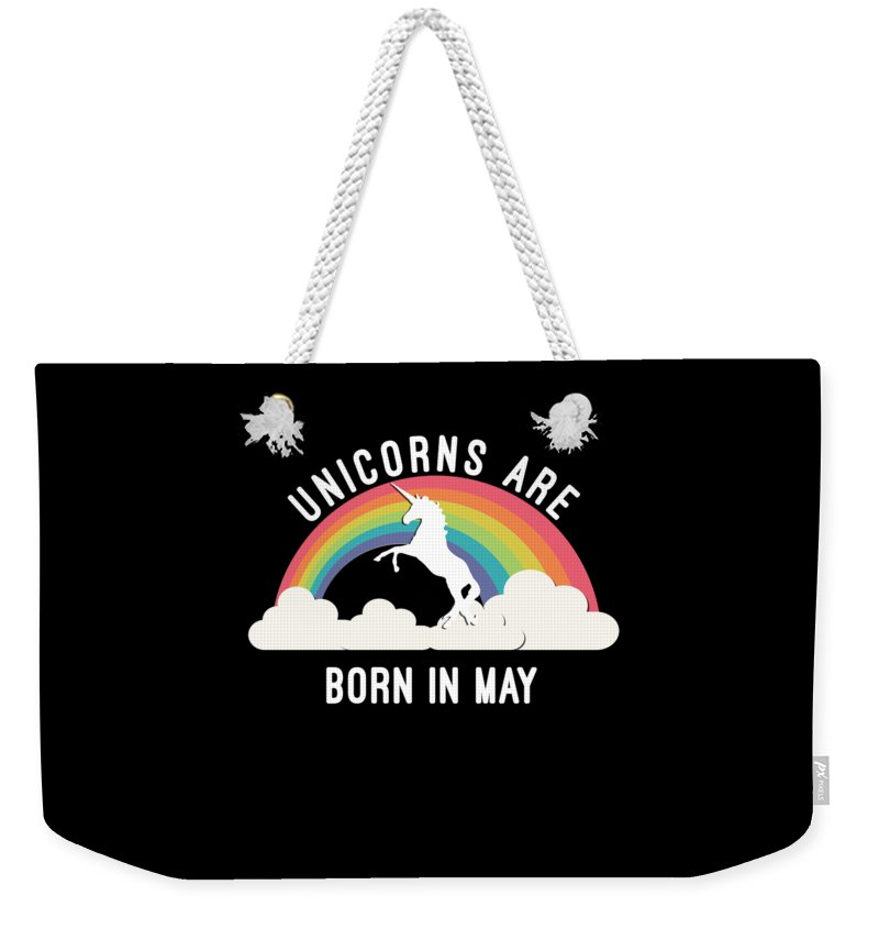 Cool Weekender Tote Bag featuring the digital art Unicorns Are Born In May by Flippin Sweet Gear
