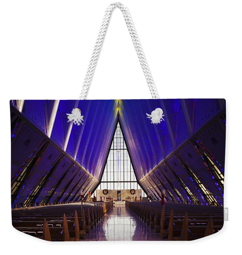 Large Group Of Objects Weekender Tote Bag featuring the photograph U.s. Air Force Academy, Cadets Chapel by Walter Bibikow