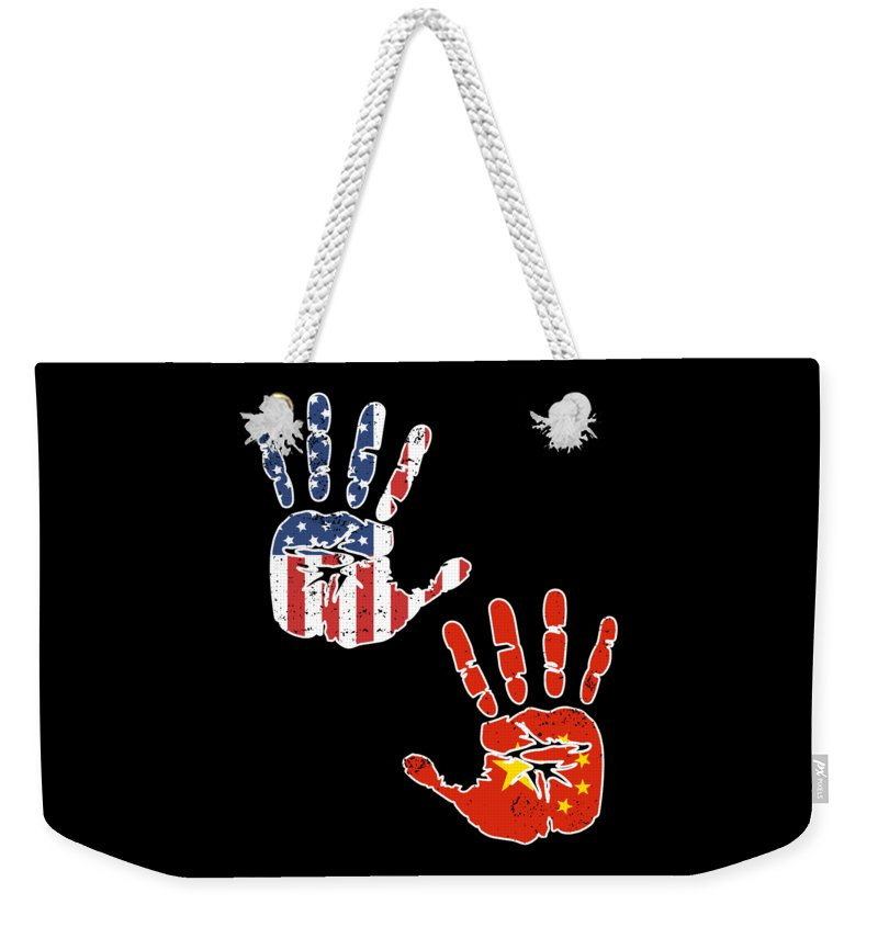 Usa China Handprint Flag Proud Chinese American Heritage Biracial American Roots Culture Descendents Weekender Tote Bag