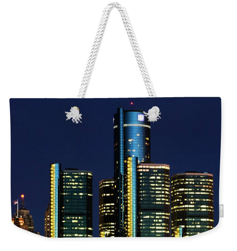 Detroit Weekender Tote Bag featuring the photograph Usa, Michigan, Detroit, Skyline & by Walter Bibikow