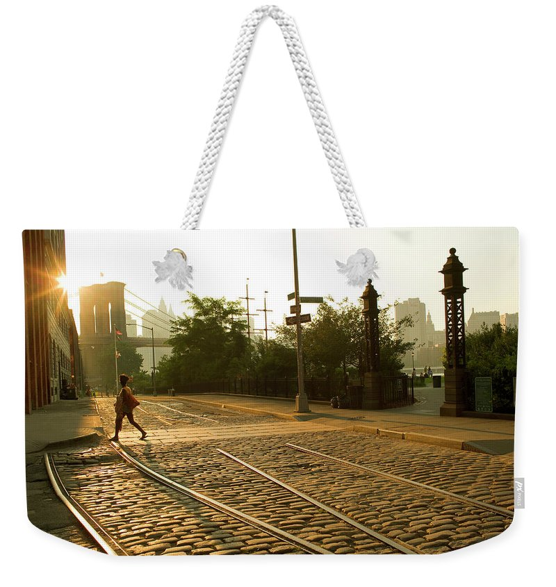 Pedestrian Weekender Tote Bag featuring the photograph Usa, New York, Brooklyn, Woman Crossing by Maremagnum