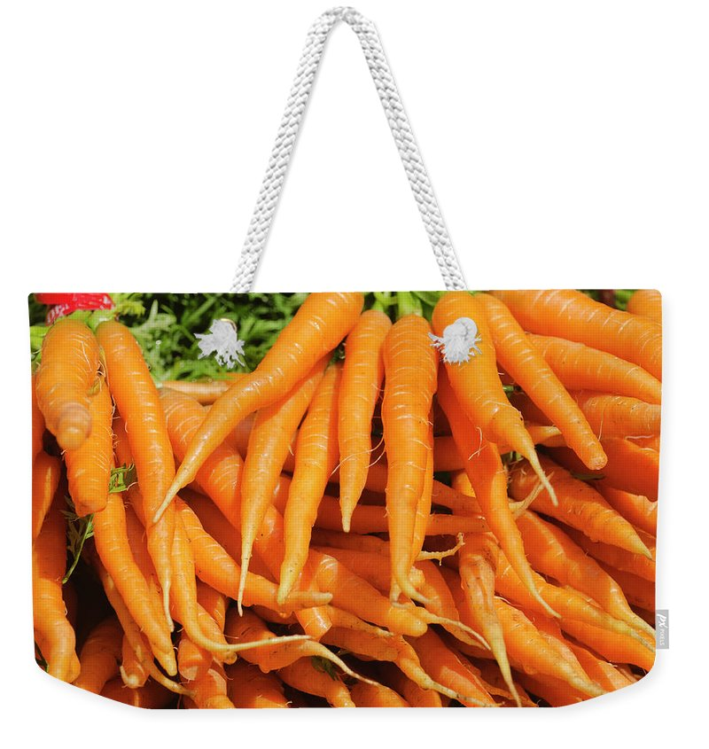 Large Group Of Objects Weekender Tote Bag featuring the photograph Usa, New York City, Carrots For Sale by Tetra Images