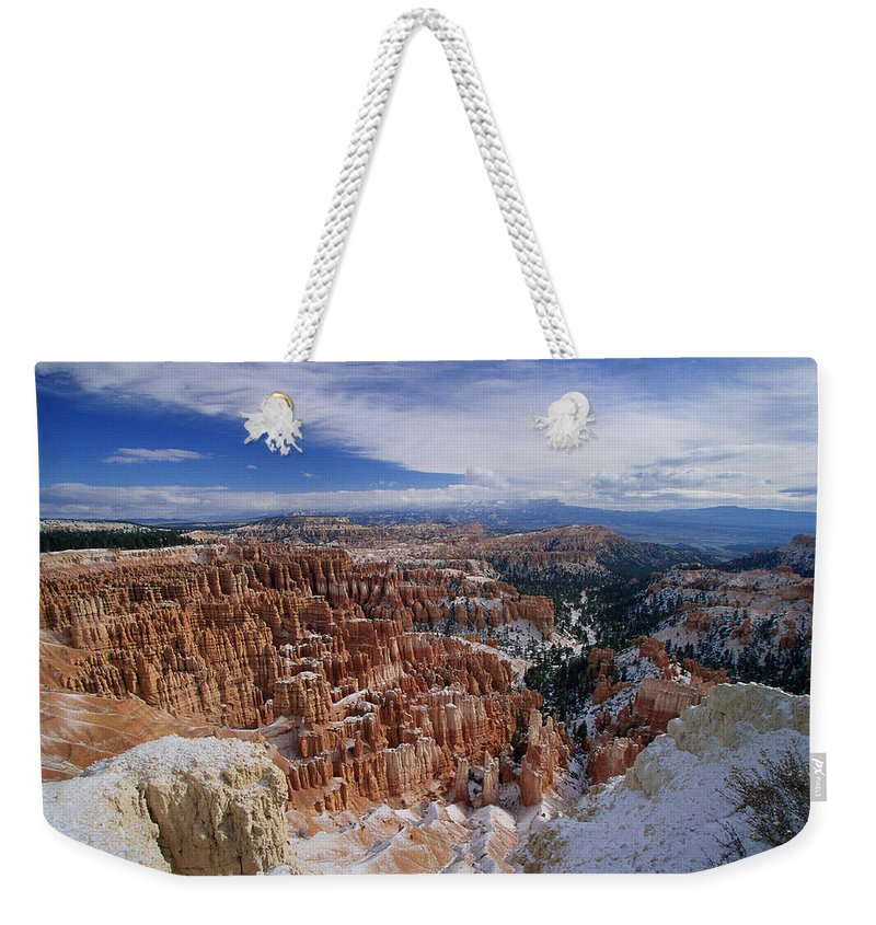 Snow Weekender Tote Bag featuring the photograph Usa, Utah, Winter Bryce Canyon by Stan Osolinski